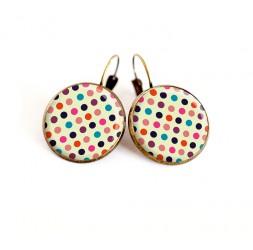 Earrings cabochon multicolour pea size choice