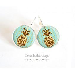 Earrings silver earrings, golden pineapple, pastel blue