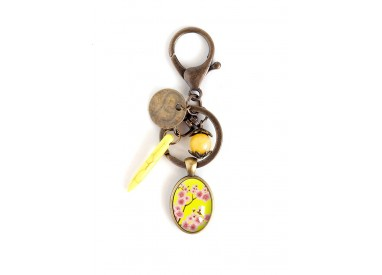 Keychain, bag jewelry, cabochon, Japanese, yellow and pink flowers