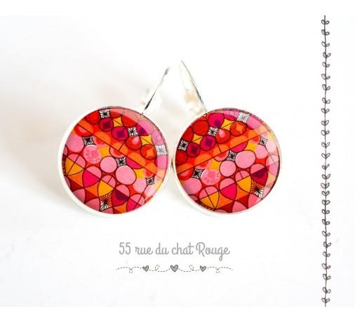 Boucles d'oreilles cabochon rouge rose couleurs Inde