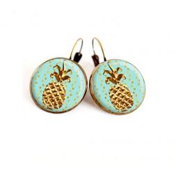 Boucles d'oreilles bronze, Ananas doré, ton bleu pastel