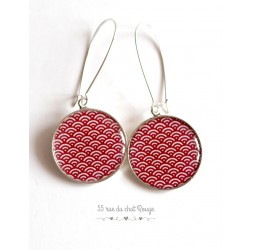 Earrings, Seigaiha Red and white, Japan, cabochon epoxy resin