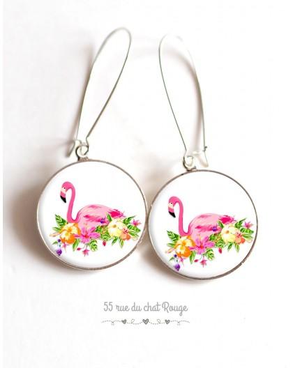 Pendientes, Flamenco lecho de flores en epoxi cabujón