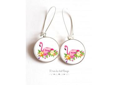 Earrings, Flamingo flower bed on cabochon epoxy
