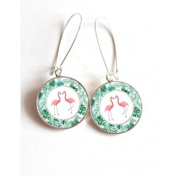 Earrings, Pink Flamingos Couple, exotic green leaves, cabochon epoxy