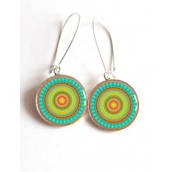 Earrings, Mandala, Mantra, turquoise and oragne cabochon epoxy