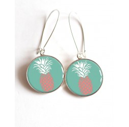 Earrings, Pineapple Rose on turquoise background, cabochon epoxy