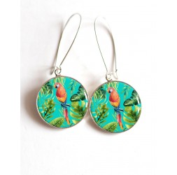 Earrings, Parrot islands, epoxy cabochon