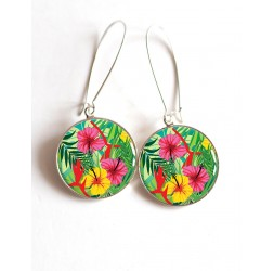 Earrings, Hibiscus, Tropical cabochon epoxy resin