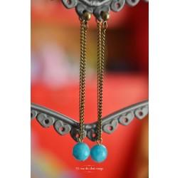 Tropfen-Ohrring, Perle Jade, blaues Meer, Bronze