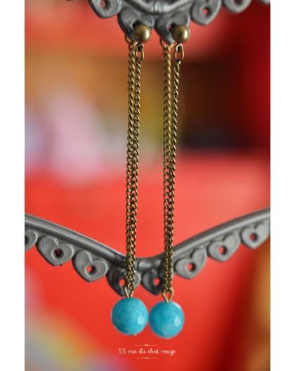 Drop Earring, pearl jade, blue sea, bronze