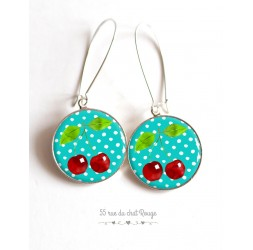 Earrings, red cherries, white and turquoise cabochon epoxy resin