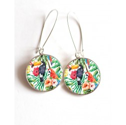 Earrings, birds, parrot and toucan cabochon epoxy resin