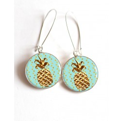 Earrings, golden pineapple, pastel blue cabochon epoxy resin