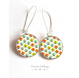 Earrings, Small multicolor flowers cabochon epoxy resin
