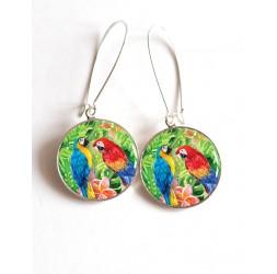 Orecchini, esotici Coppie del pappagallo resina epossidica cabochon