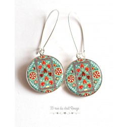 Earrings Pattern Hindu, red turquoise cabochon epoxy resin