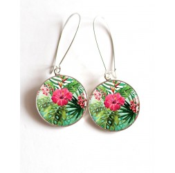 Earrings, Big Hibiscus fuchsia cabochon epoxy resin