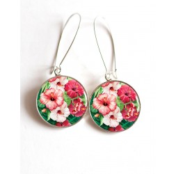 Earrings, hibiscus pink and fuchsia, Tropical cabochon epoxy resin