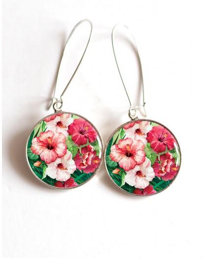 Boucles d'oreilles, Fleur d'HIbiscus rose et fushia, Tropicale, cabochon résine époxy