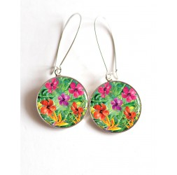 Earrings, Hibiscus flowers, exotic flowers, epoxy cabochon