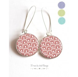 Ohrringe, rot Seigaiha, Farbwahl, Japan, Epoxy-Cabochon