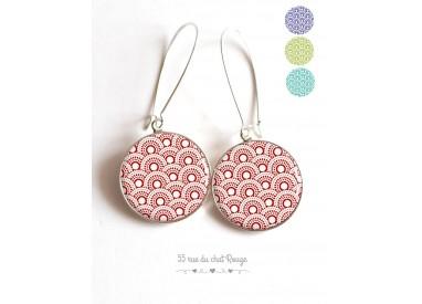 Boucles d'oreilles, Seigaiha rouge, couleur au choix, Japon, cabochon résine époxy
