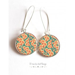 Earrings, Arabesque pattern, orange and green water, Japan, epoxy cabochon