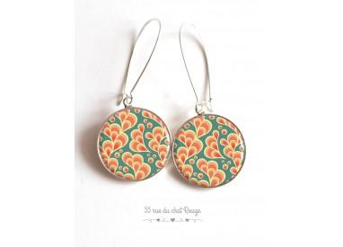 Boucles d'oreilles, Arabesque en motif, orange et vert d'eau, Japon, cabochon résine époxy