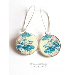 Earrings, flower Large blue and pink, beige, Japan, epoxy cabochon