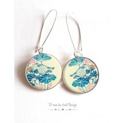 Orecchini, fiore Grande blu e rosa, beige, Giappone, cabochon resina epossidica