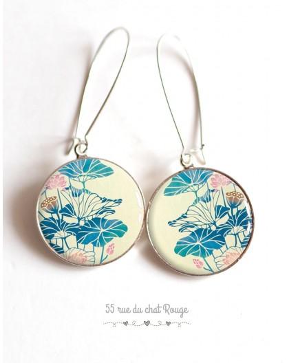 Boucles d'oreilles, Grandes fleur bleu et rose, beige, Japon, cabochon résine époxy