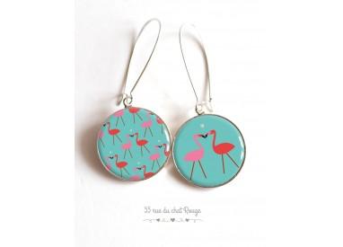 Earrings, asymmetrical, Flamingo, turquoise cabochon epoxy resin