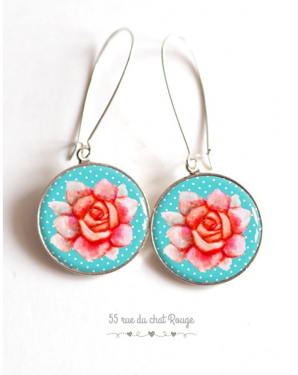 Earrings, Large flower pink, soft blue cabochon epoxy resin