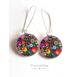 Orecchini, russo Folklore modello, resina epossidica multicolore cabochon floreale