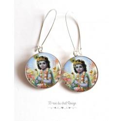 Orecchini, Shiva, dio Indù, resina epossidica cabochon