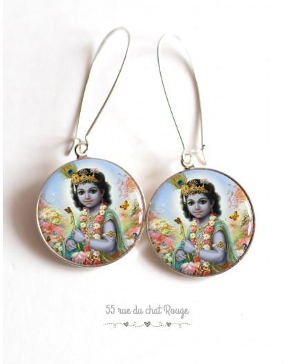 Pendientes, Shiva, dios hindú, resina epoxi cabujón