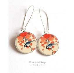 Boucles d'oreilles, Petit Oiseau sur branche, Japon, orange beige,  cabochon résine époxy