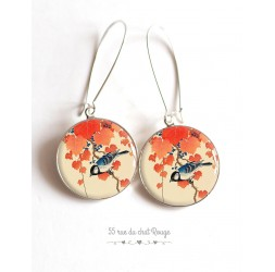 Earrings, Little Bird on branch, Japan, beige orange cabochon epoxy resin