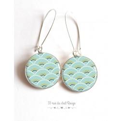 Ohrringe, Seigaiha soft blau und grün, Japan, Cabochon Epoxidharz