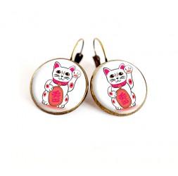 Earrings cabochon Maneki Neko cat lucky charm, choose your size, bronze