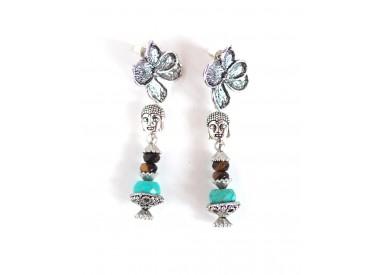 Buddha earrings, gemmes tiger eye