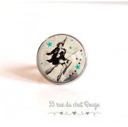 Cabochon Ring, Silber, Pin-up, Jahr 60ern