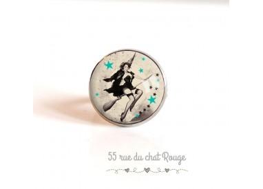 cabujón anillo, plata, Pin-up, de 60 años de