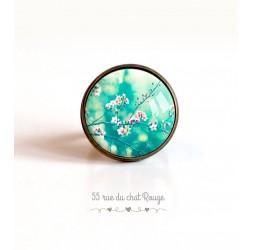 Cabochon Ring, Japanische Kirsche, türkis und rosa, 20mm, Bronze