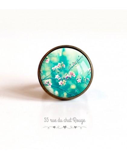 Bague cabochon, cerisier du Japon, turquoise et rose, 20 mm, bronze