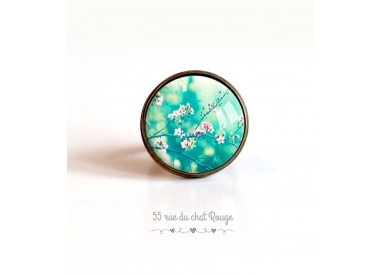 Cabochon ring, Japanese cherry, turquoise and pink, 20mm, bronze