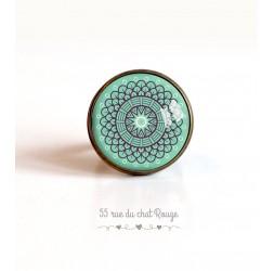 cabujón anillo, Espíritu rosa de Marruecos sobre fondo azul en colores pastel, de 20 mm, bronce
