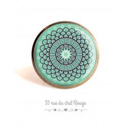 Cabochon ring, Spirit Moroccan rose on pastel blue background, 25 mm, Bronze