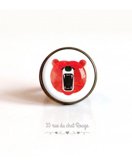 cabujón anillo, oso del rugido, naranja blanco, 20 mm, bronce